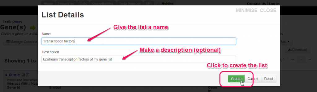 Name your list then click 'Create'.