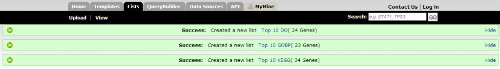 Three new lists