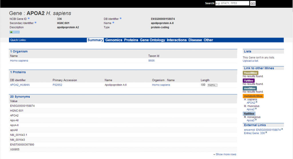 A screen shot of a report page