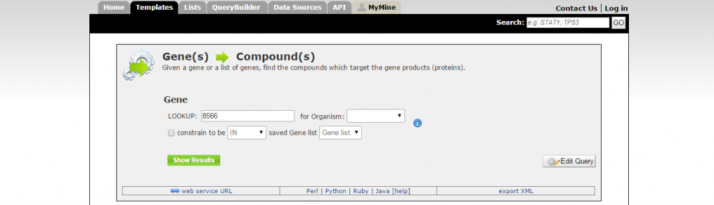 Genes --> compounds template.