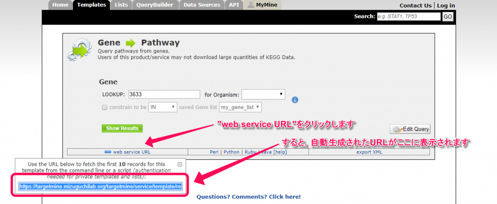 Each template contains a 'web service URL' link