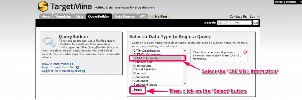 Select the 'ChEMBL Interaction' and click the 'Select' button.